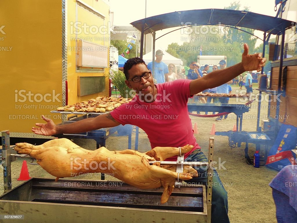 Latin Festival - Welcome to the Pig Roast! stock photo