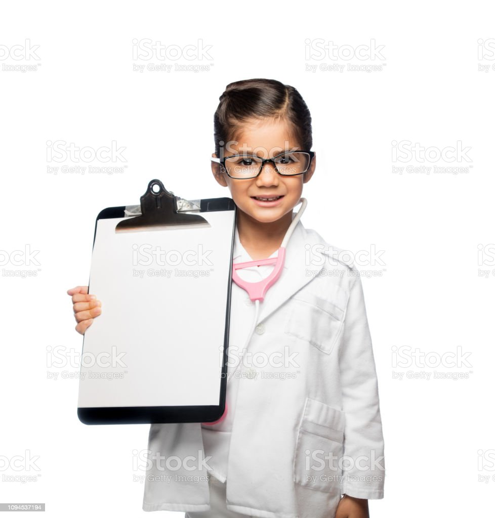 Latin girl dress up like a doctor stock photo