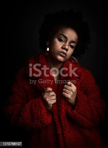 latin girl with red coat, like a raper
