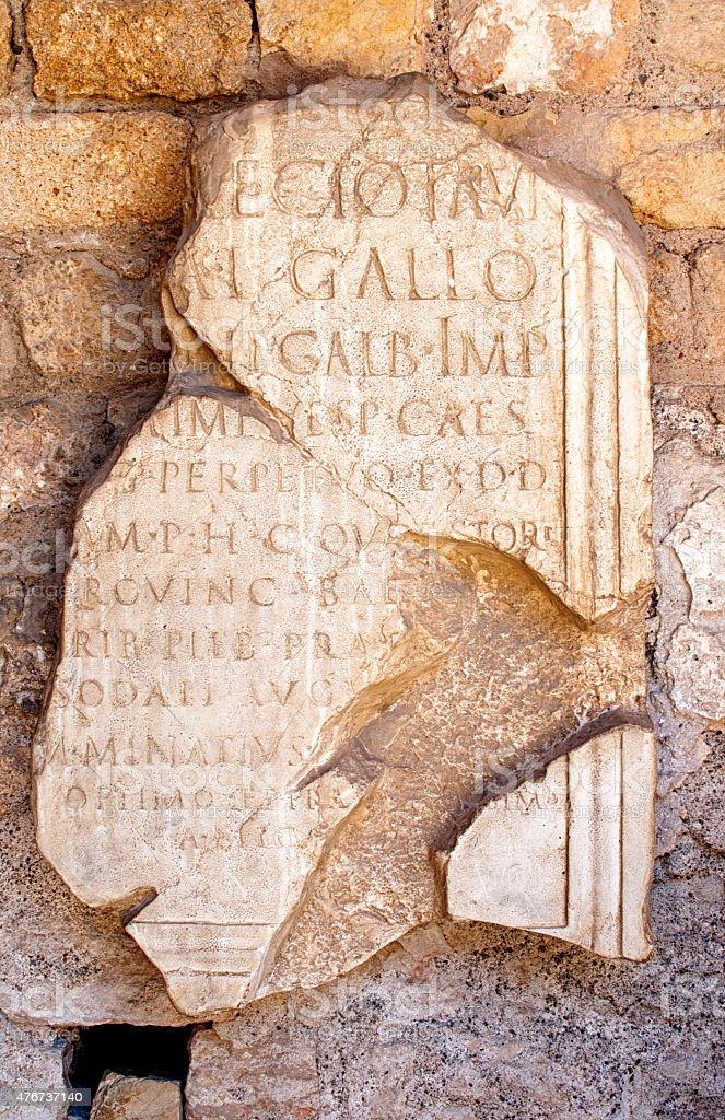 Latin illegible inscritption on ancient stone, Tarraco, Tarragon stock photo