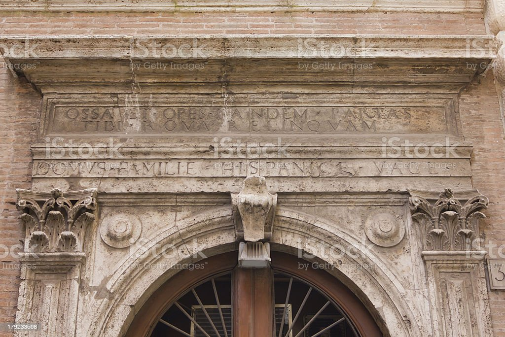 Latin Inscription Over a 15th Century Gate royalty-free stock photo