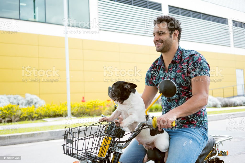 latin man in flower shirt takes his pet dog bitch black and white...