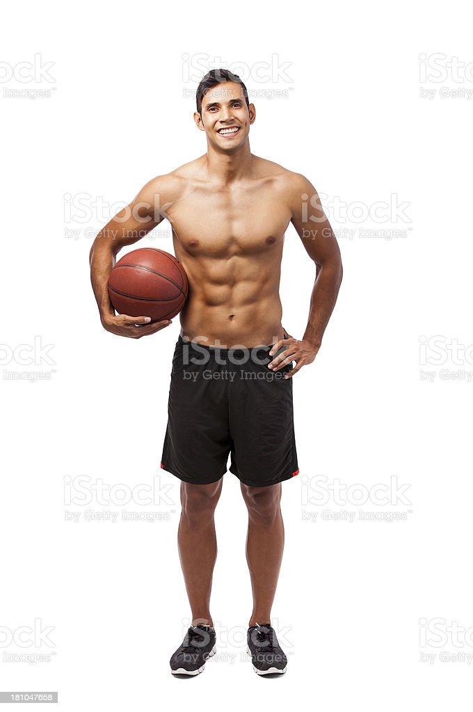 Latin man playing basketball royalty-free stock photo
