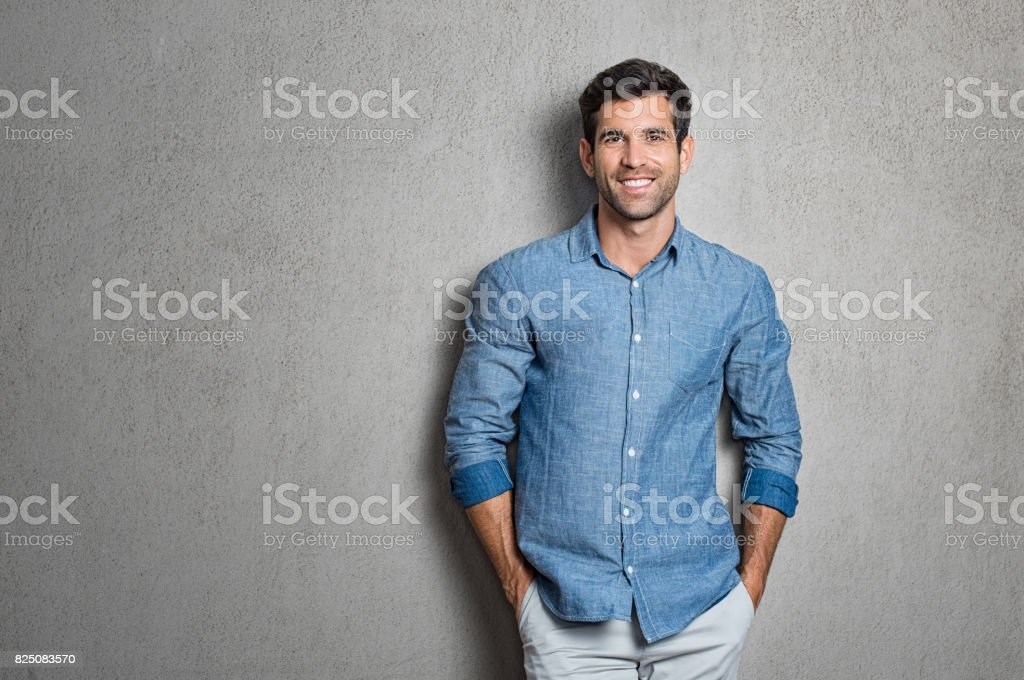 Latin man standing stock photo