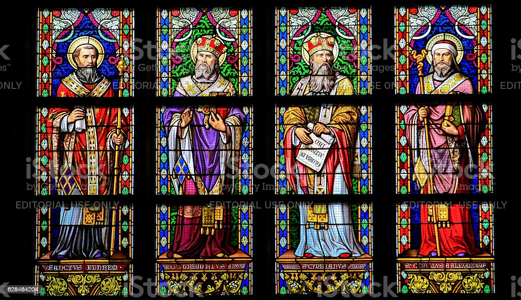 Latin Saints - Stained Glass Window in Den Bosch Cathedral stock photo