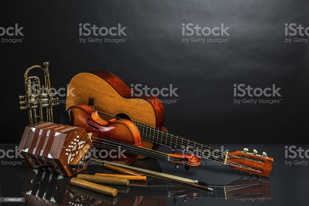 Latin style instruments stock photo
