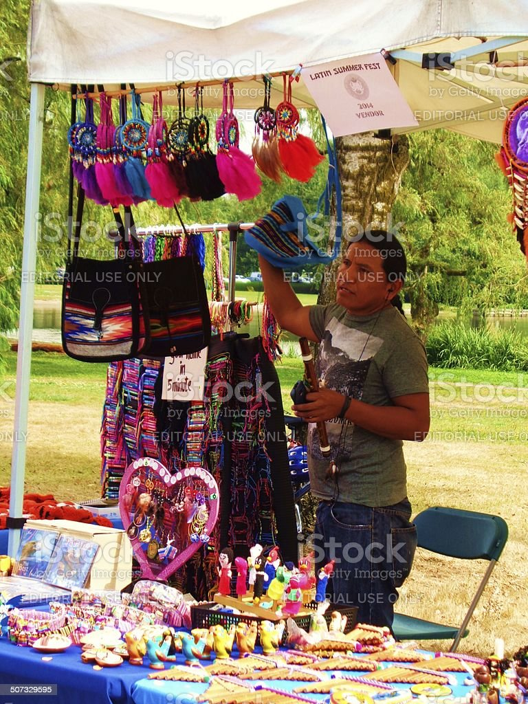 Latin Summer Festival kiosk with vendor stock photo