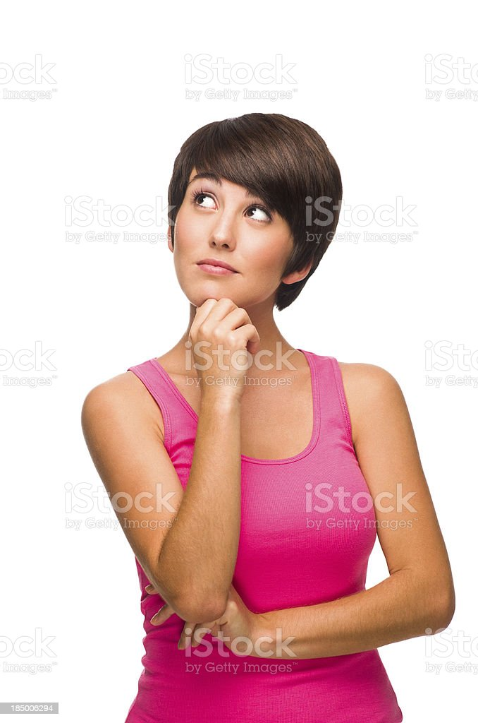 Latin woman thinking royalty-free stock photo