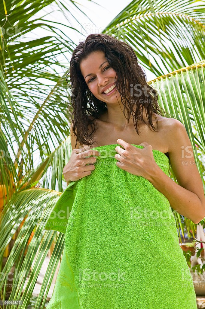 Latin Woman with towel royalty-free stock photo