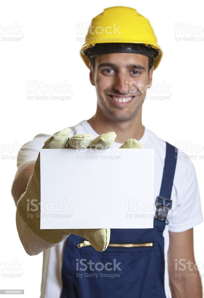 Latin worker showing card royalty-free stock photo