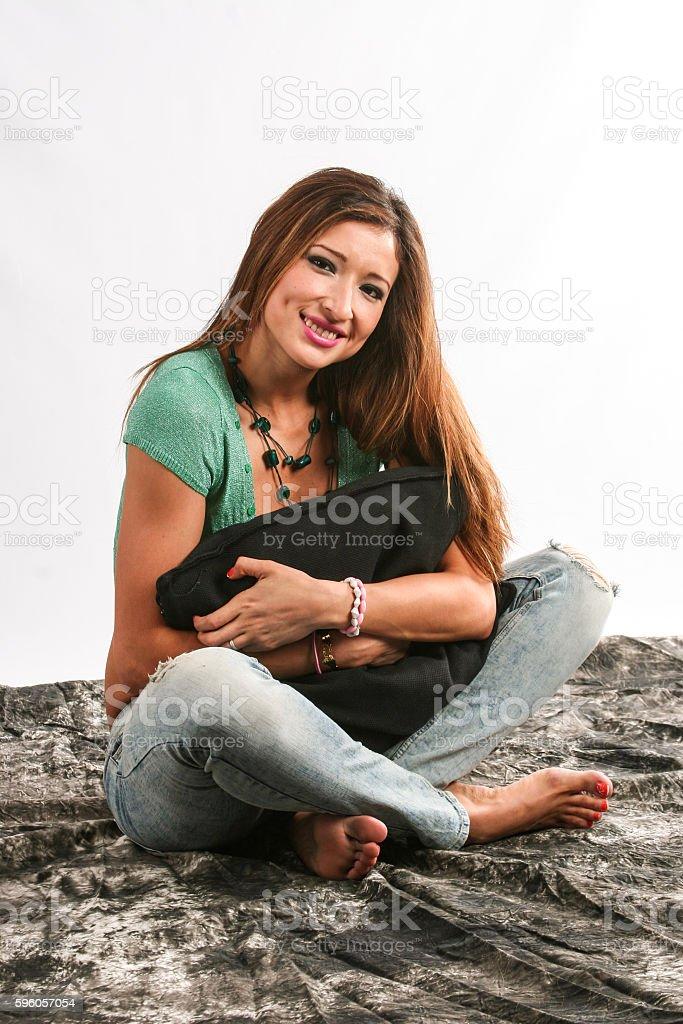 Latina blonde looking at camera stock photo
