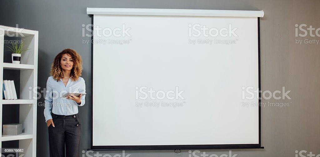 Latina Businesswoman Having Presentation In Her Office. stock photo