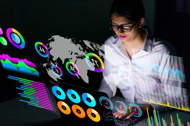latina businesswoman looking at various business information. - business woman hologram imagens e fotografias de stock