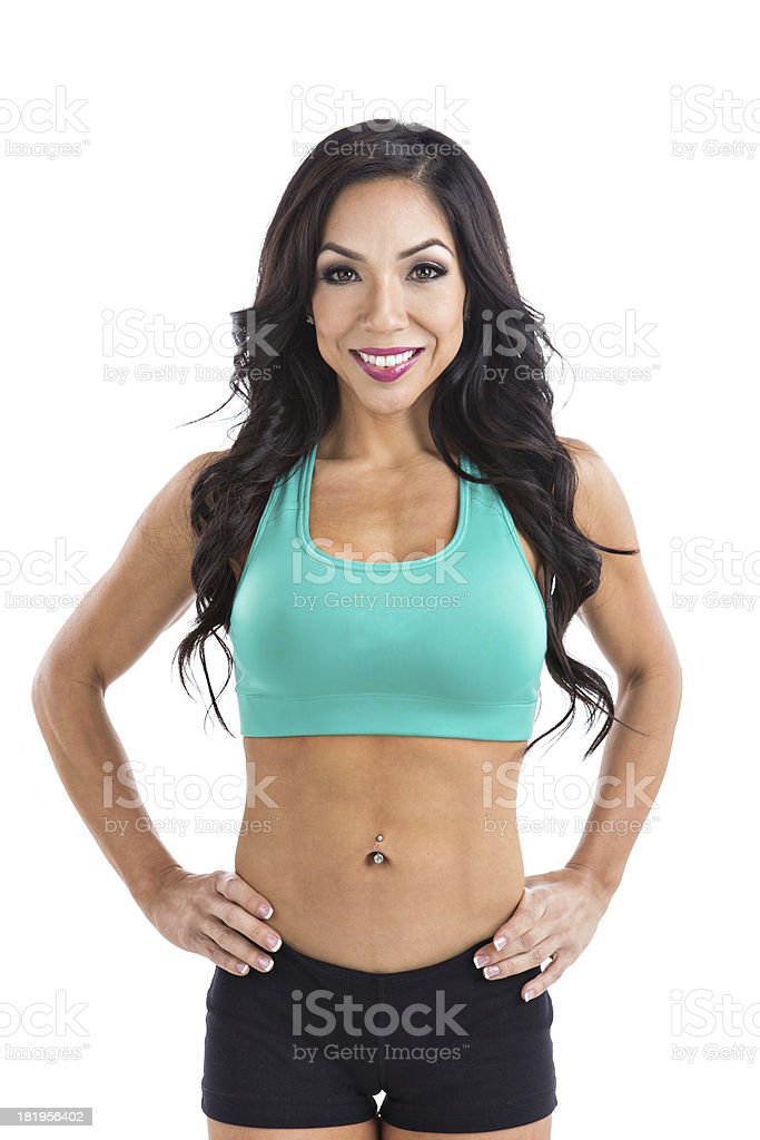 latina fitness model posing with smile royalty-free stock photo