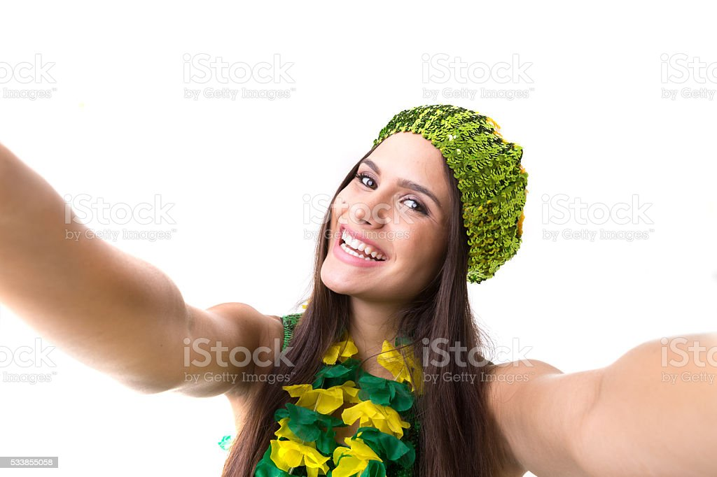 Latina young woman taking a selfie photo stock photo