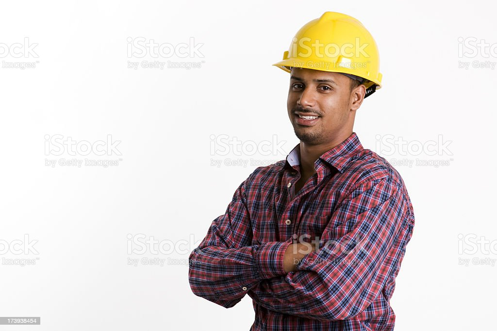 Latino Construction worker smiling royalty-free stock photo
