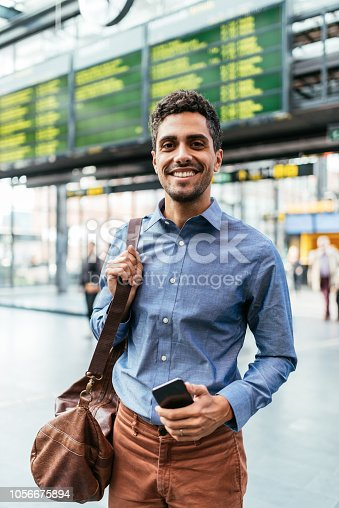 Portrait of Latino - Brazilian handsome businessman going to work or having coffee break during working hours