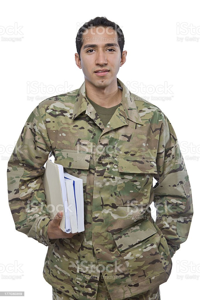 Latino Military Man with School Books stock photo