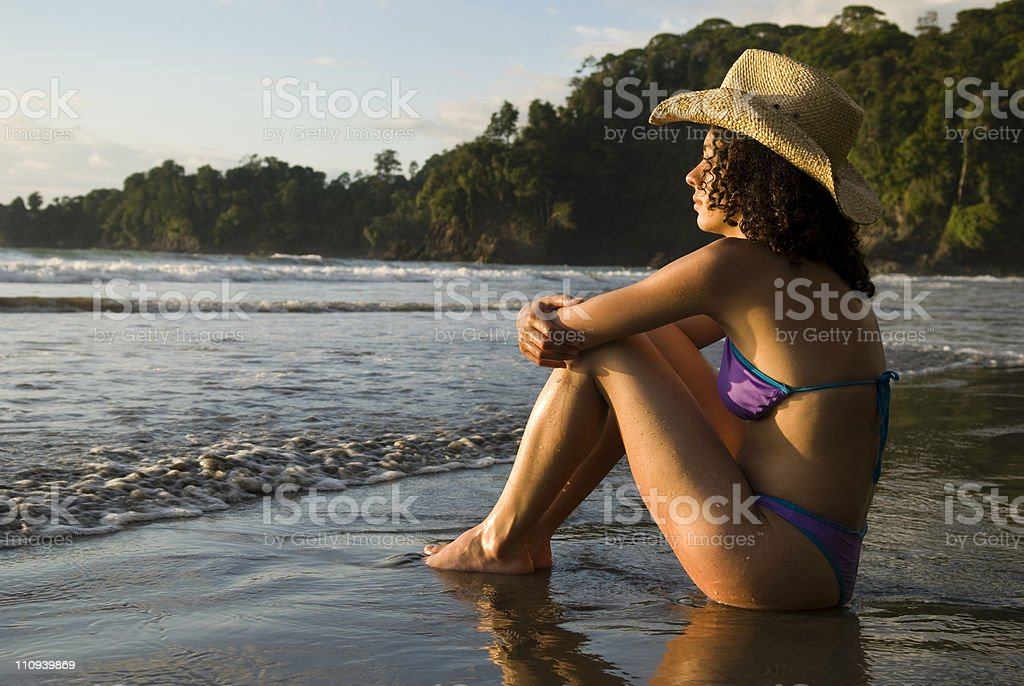 Latino Woman at the Beach royalty-free stock photo