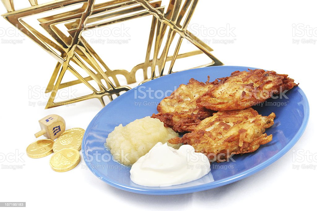Latkes Menorah Dreidel and Gelt for Hanukkah stock photo
