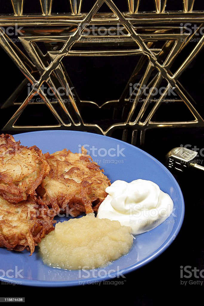 Latkes & Menorah On Black stock photo