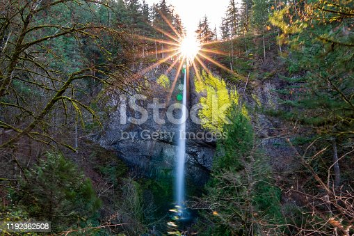 The sun setting over Latourell Falls along the Columbia River Gorge in Oregon