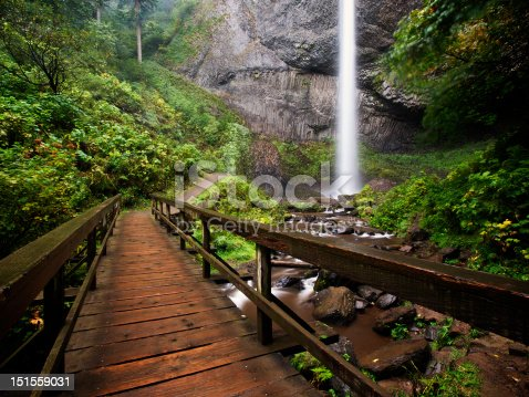 Scenic Latourell Falls in the Columbia River Gorge, Oregon.