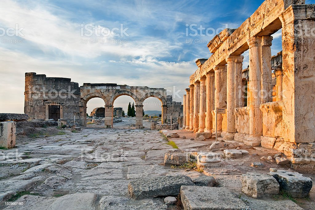 Latrine and Frontinus gate of Hierapolis, Turkey stock photo