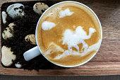 latte art: camel on desert