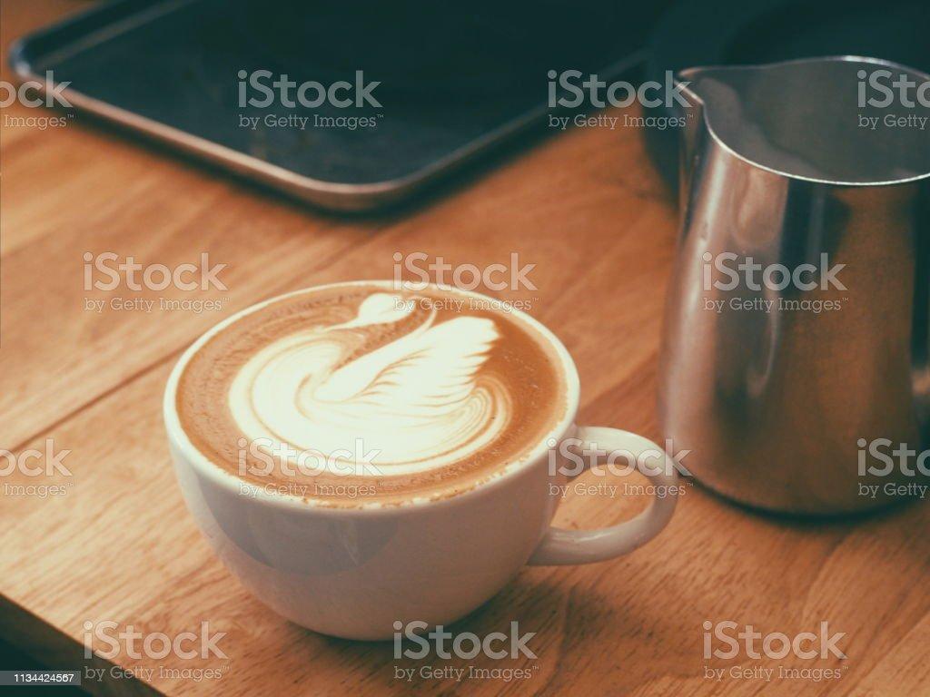 Swan on hot latte