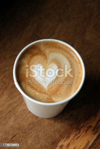 Calling coffee lovers.  Latte art with heart pattern.