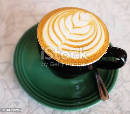 Decorated cup of restaurant coffee.