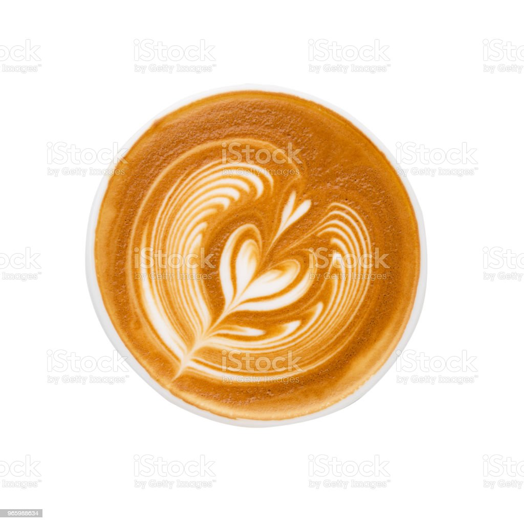 latte art Isolated on white background Top view of hot coffee latte art foam isolated on white background, clipping path Art Stock Photo
