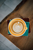 Latte art on book