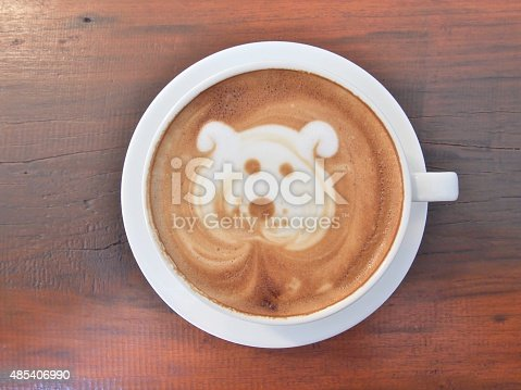 istock Latte Coffee art on the wooden desk. 485406990