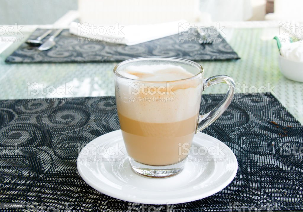 Latte Coffee cup on beautiful  table stock photo