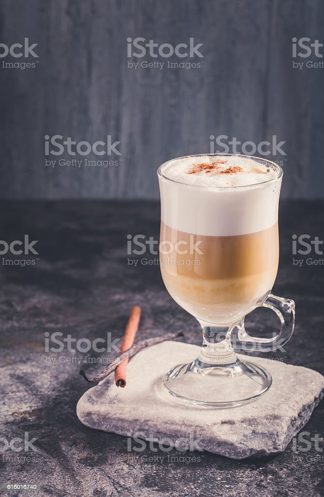 Latte coffee in cold tones stock photo