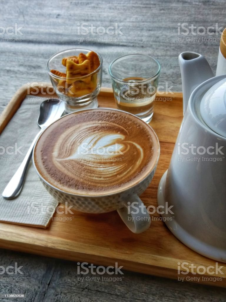 Latte coffee is served in the morning. stock photo