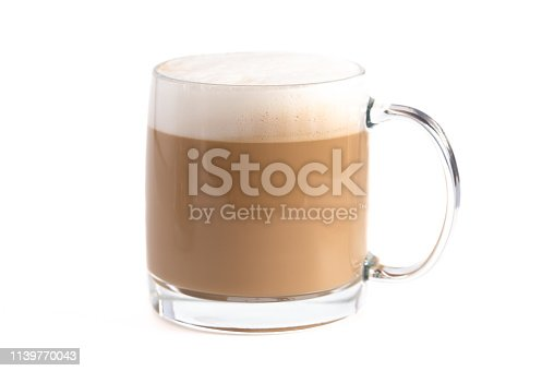 A Latte Coffee on a White Background