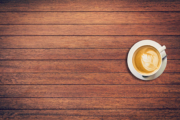 latte coffee on table wood background with space - top view, wood table, empty imagens e fotografias de stock