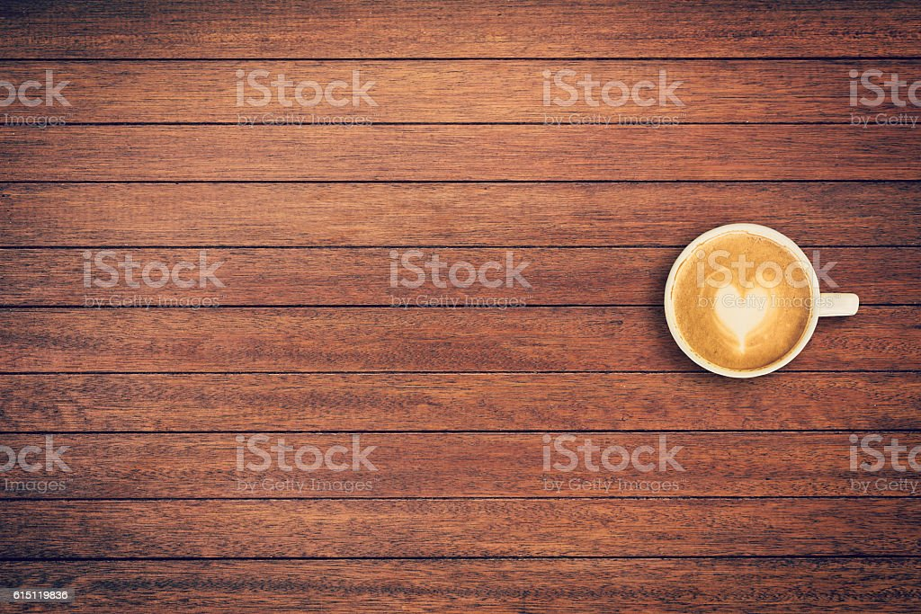 Latte coffee on table wood background with space - foto de acervo