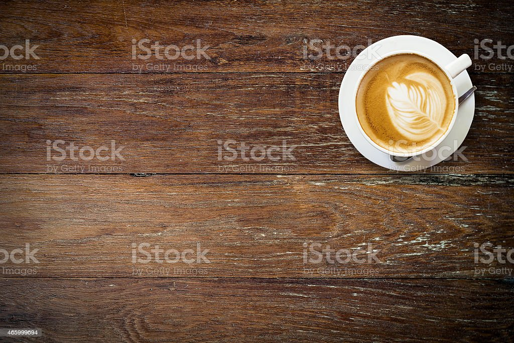 latte coffee on wood with space. stock photo