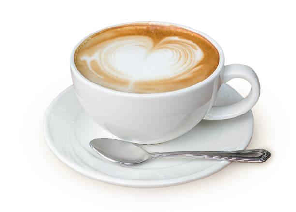 帶心形拿鐵藝術的拿鐵咖啡 - 杯 個照片及圖片檔