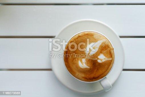 latte coffee, with leaf pattern
