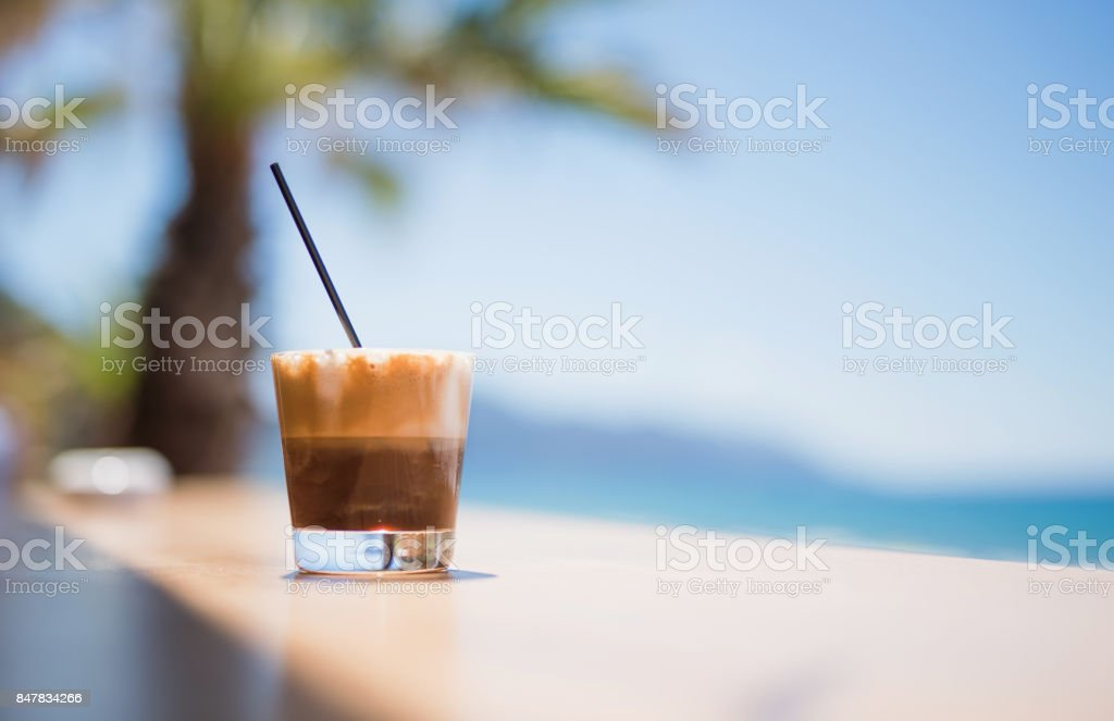 Latte drink on the beach stock photo