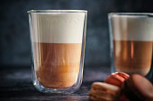 Latte Macchiato Served with Macarons