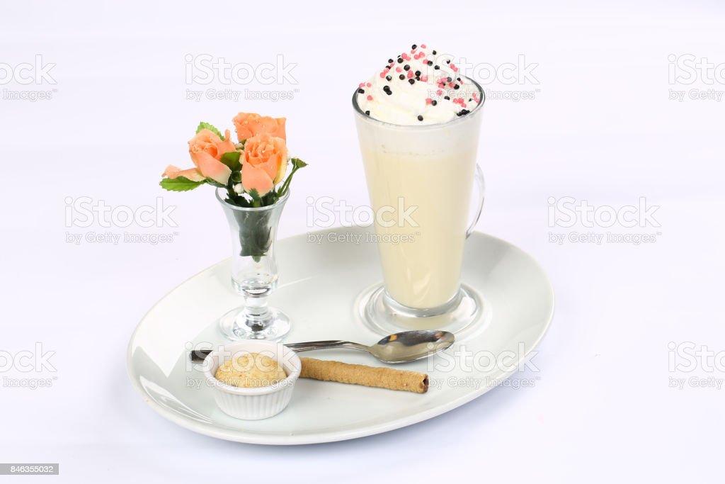 Latte macchiato with whipped cream stock photo