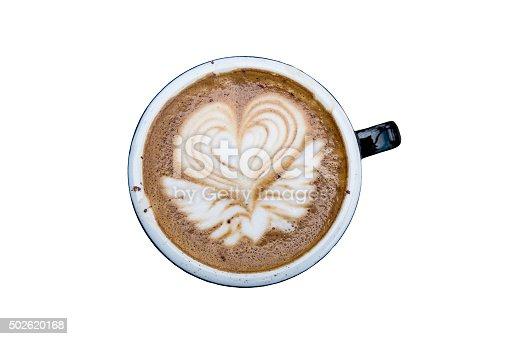 Latte mocha art coffee, isolated on white background