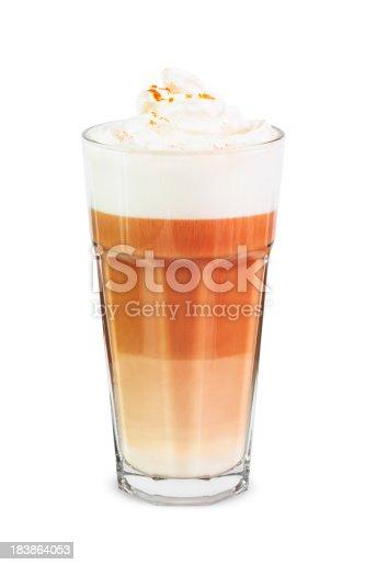 Latte macchiato in glass.
