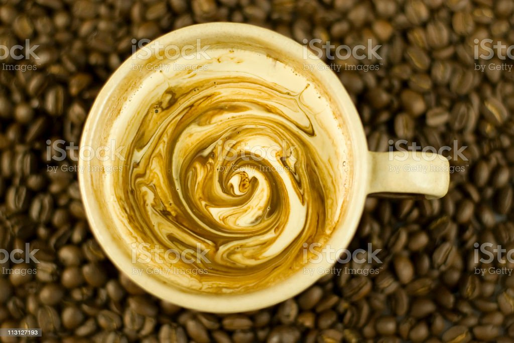 Latte with Swirls Top View royalty-free stock photo
